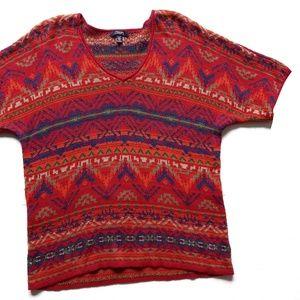 Chaps Aztec Navajo Burnt Orange Red Sweater XL